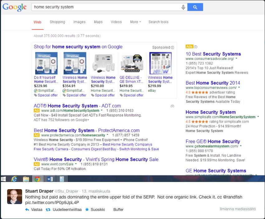 Vain mainoksia Google-haun ensinäkymässä