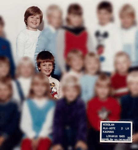 Jukka ja Pasi tokaluokalla Kauhavan Kosolan koulussa 1985