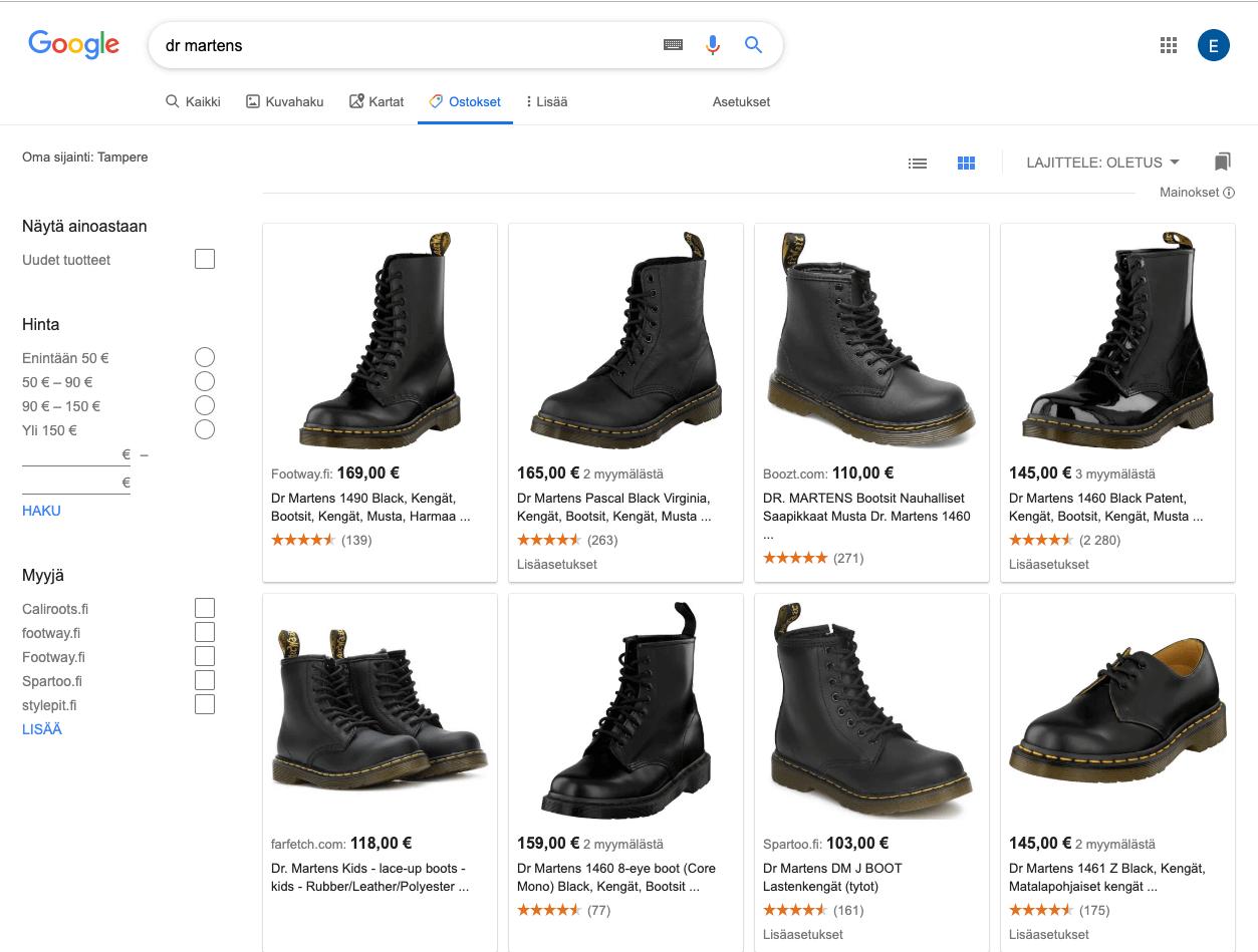 Googlen uusi Ostokset-välilehti
